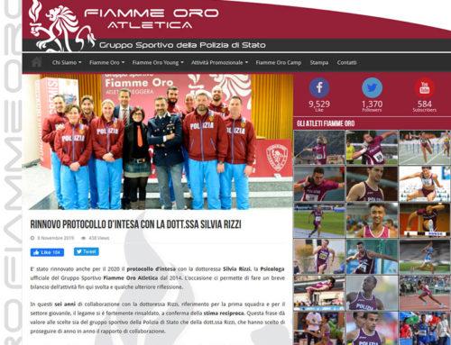 Fiamme Oro Atletica – Rinnovo protocollo d'intesa con la Dott.ssa Silvia Rizzi