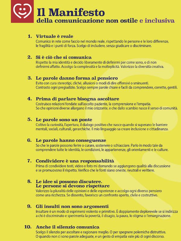 Parole O_stili Manifesto della comunicazione non ostile e inclusiva verticale