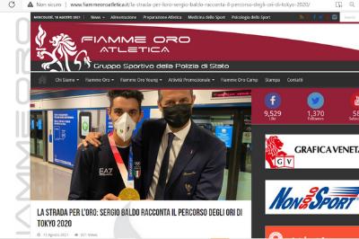 Articolo sul sito Fiamme Oro Atletica
