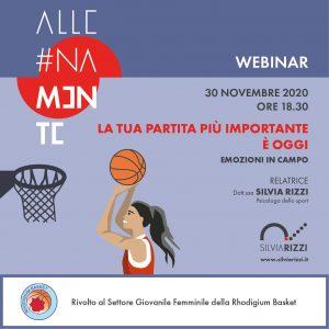 Locandina WEBINAR settore femminile Rhodigium Basket