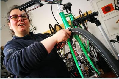 La Ciclista Ignorante in ciclofficina