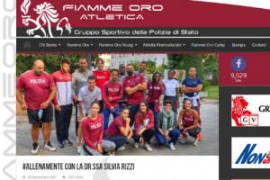 Screenshot dell'articolo sul sito Fiamme Oro Atletica